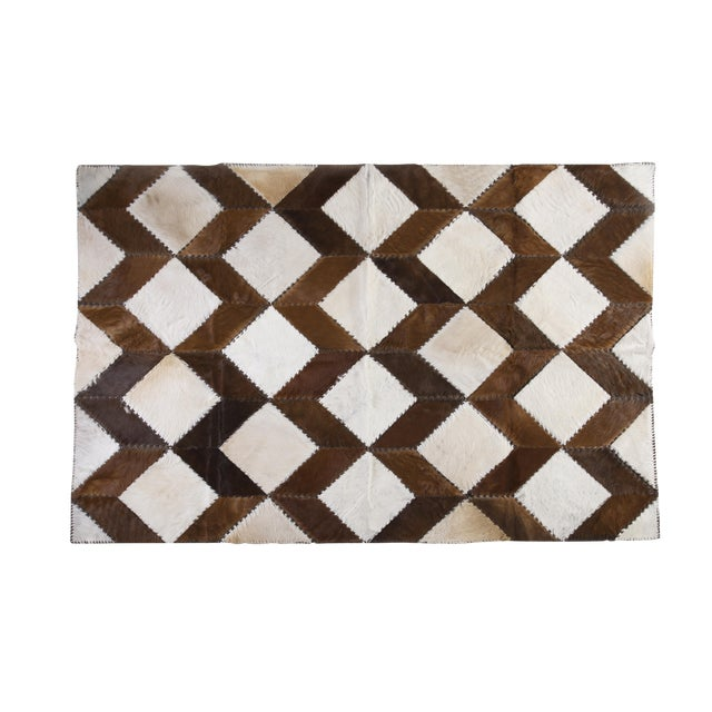 "Square Chevron Cowhide Patchwork Area Rug - 5'5"" x 7'11"" - Image 1 of 8"