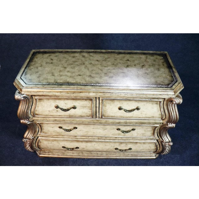Large Italian embossed leather top 4 drawer commode.