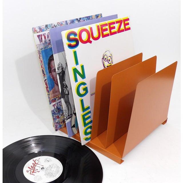Orange Wooden Desk Organizer - Vinyl Record Rack - Image 9 of 10