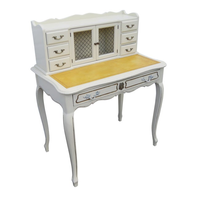 French Painted Leather Top Vanity Writing Desk With Flip Up Mirror 1272 For Sale