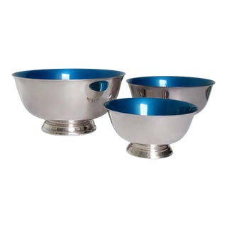Reed & Barton Silver Plate Bowls With Peacock Blue Enameled Interiors -Set of 3 For Sale