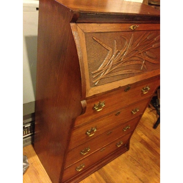 Handmade Carved Slant Desk with the ID of John Hall, Quincy, Mass For Sale - Image 4 of 11