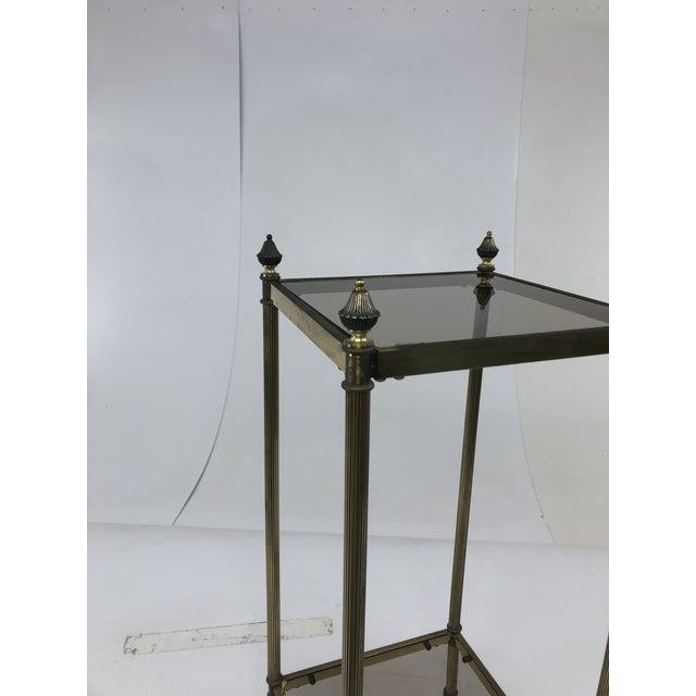 Mid Century Brass Two Tier Glass Side Table Chairish - Two tier glass side table