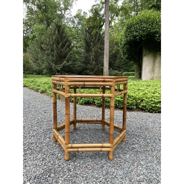 Vintage Bamboo Octagonal Side Table For Sale - Image 4 of 9