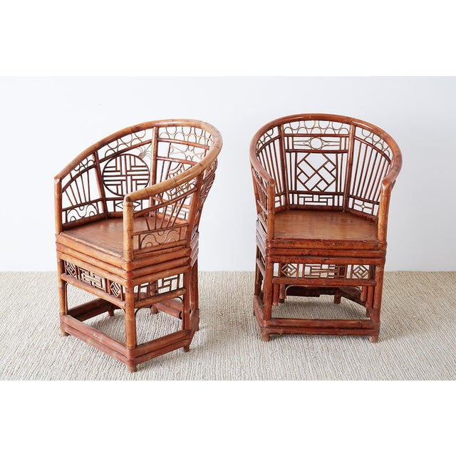 Hollywood Regency Set of Four Brighton Pavillion Style Bamboo Armchairs For Sale - Image 3 of 13
