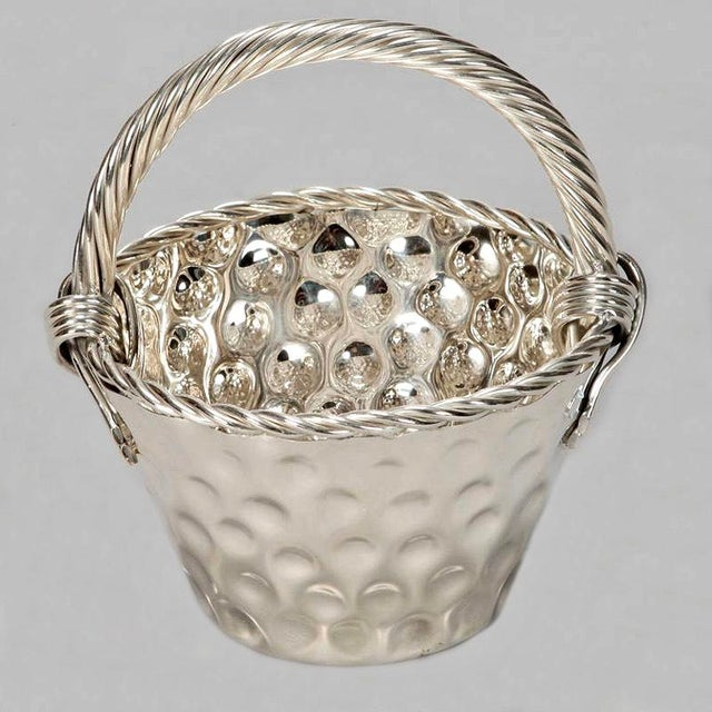 Mid Century Hammered Silver Plate Tall Handled Basket - Image 6 of 8