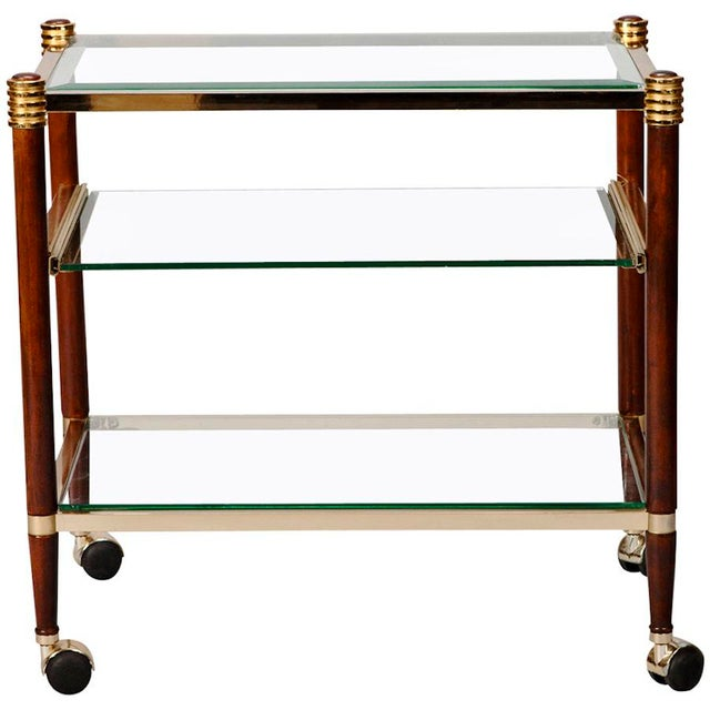 Italian Mid-Century Italian Brass Glass and Polished Wood Trolley Table or Bar Cart For Sale - Image 3 of 8