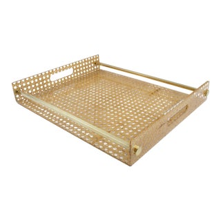 Christian Dior Home 1970s Lucite and Rattan Barware Serving Tray For Sale