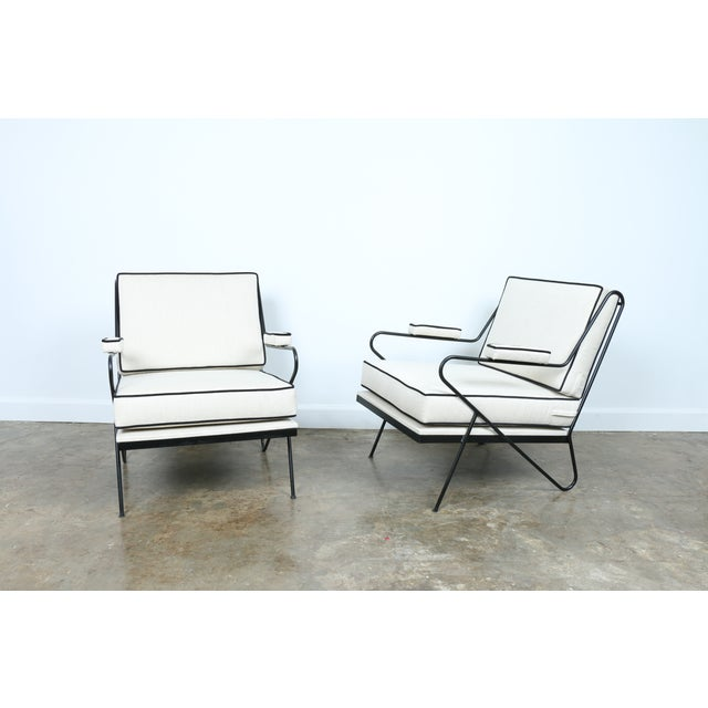 Mid-Century Modern Wrought Iron Custom Hairpin Leg Chairs - A Pair For Sale - Image 3 of 11