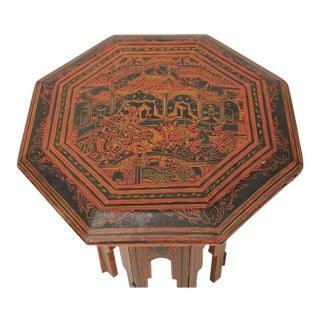 1900s Burmese Red & Black Lacquered Octagonal Accent Table