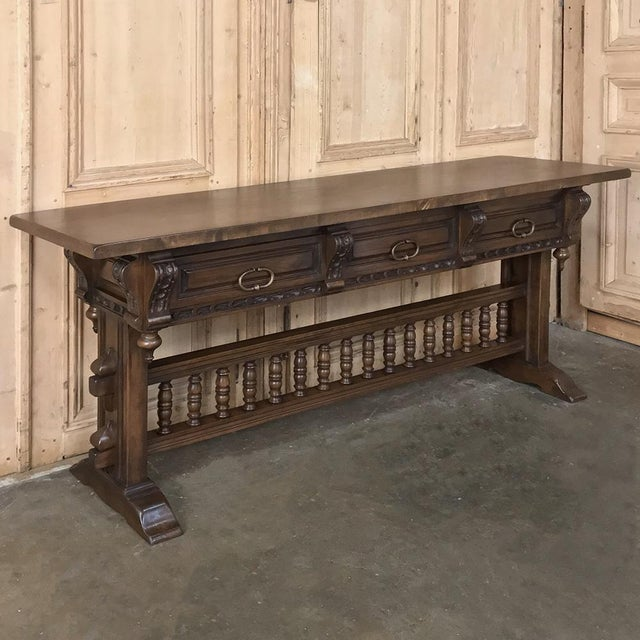 Mediterranean Antique Spanish Renaissance Walnut Hall Table ~ Console For Sale - Image 3 of 12