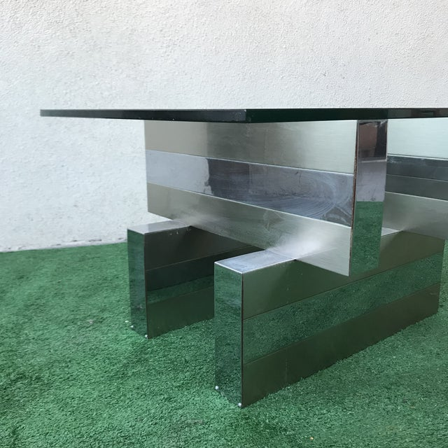 1970s 1970s Minimalist Paul Evans Cityscape Chrome Clad Cocktail Table For Sale - Image 5 of 7