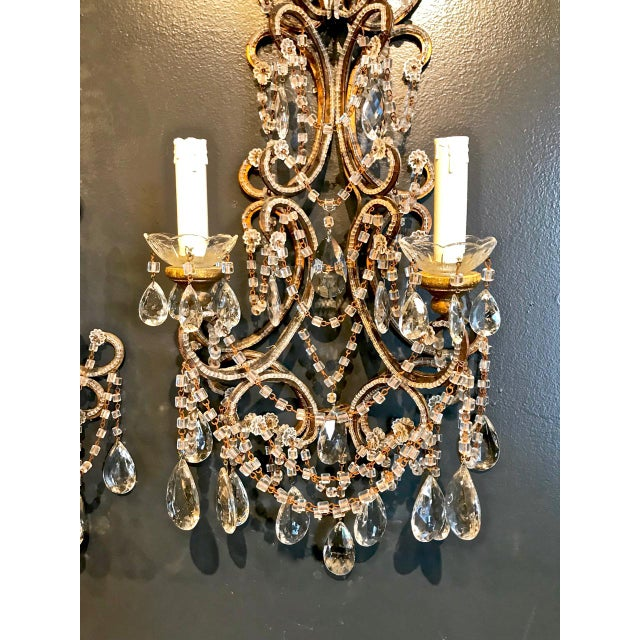 Boho Chic Pair Italian Beaded Sconces C. 1950s For Sale - Image 3 of 8