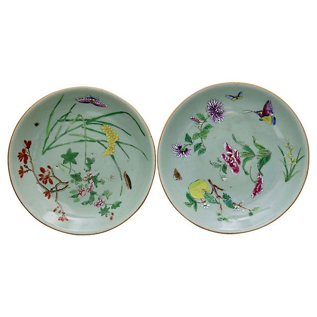 19th Century Antique Chinese Celadon Wucai Plates For Sale - Image 5 of 5