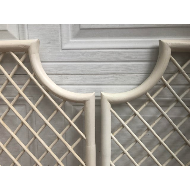 These palm beach regency headboards are adorable! They are in vintage condition. Trellis reed design. You could repaint...