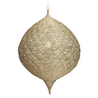 Medium Calabash Rattan Hanging Pendant For Sale