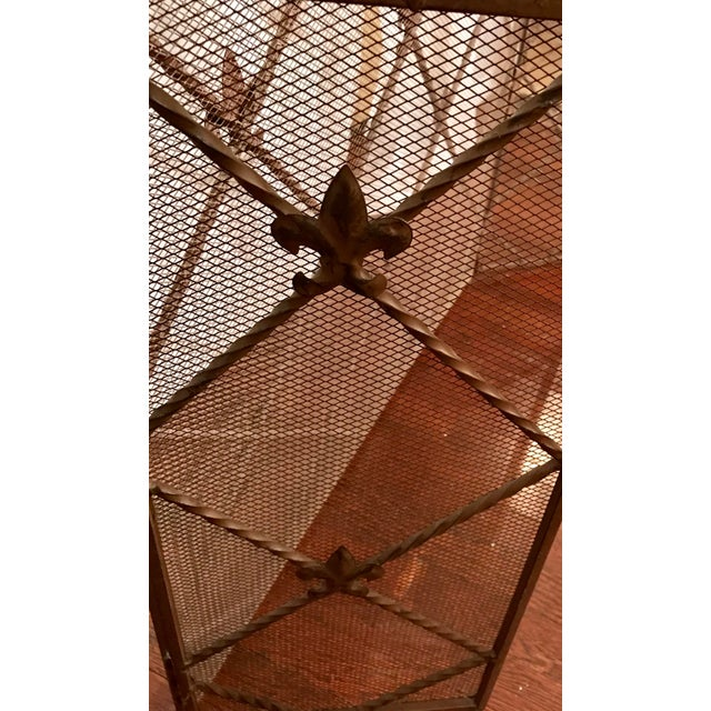 Brown Antique French Wrought Iron Arched Fleur De Lis Folding Three Panel Fireplace Screen For Sale - Image 8 of 9