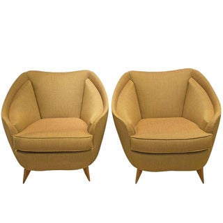 Isa, Pair of Armchairs in Fabric and Wood, Italy, Circa 1950 For Sale