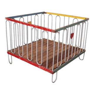 Streamline Modernist Art Deco Collapsible Playpen or Crib after Gilbert Rohde