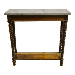 Reclaimed Marble Top Narrow Console Table For Sale