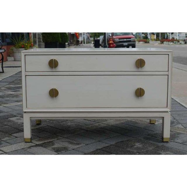 Mid-Century Modern Faux Ivory Low Chest by Dunbar For Sale - Image 3 of 11