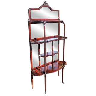 19th Century Victorian Carved Mahogany Mirrored Etagere Hall Tree For Sale