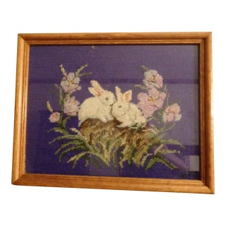 Vintage Bunny Rabbit Floral Needlepoint Artwork Easter For Sale