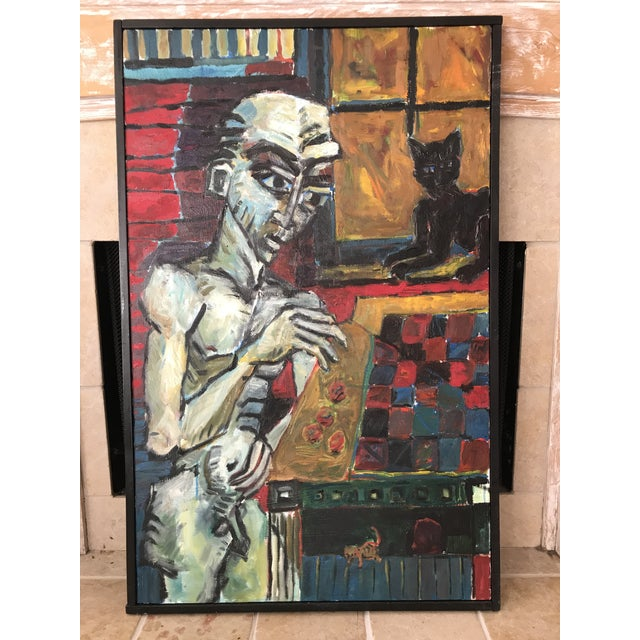 """Vintage Original Painting Early Work of Paul Rinaldi """"Man Playing Checkers"""" For Sale - Image 10 of 10"""