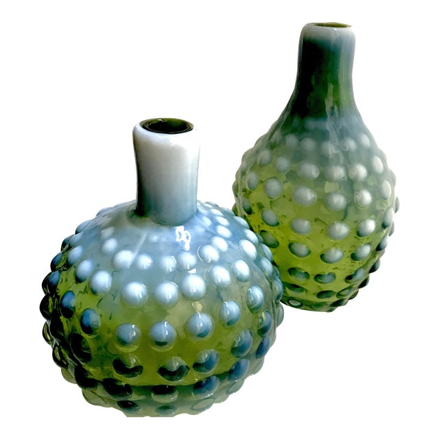 A Set of 2 Green With White Milk Glass Hobnail Vases Short and Tall For Sale
