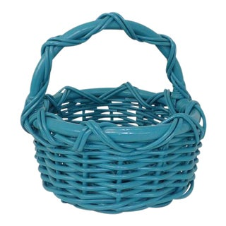Vintage Teal Aqua Blue Wicker Basket