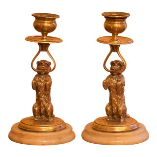 Edwardian Brass Dog Candle Holders, England, Circa 1910 - a Pair For Sale
