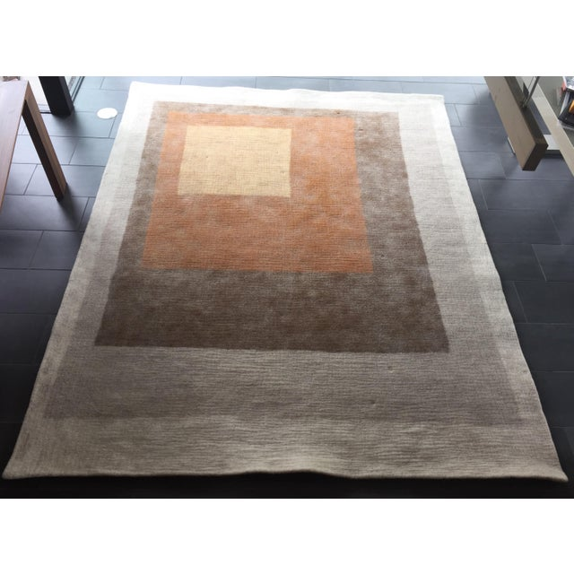 Bought at Peace Industry in San Francisco, this 8' x 10' rug is made of boxes of color - Cream, camel, ochre, saffron &...