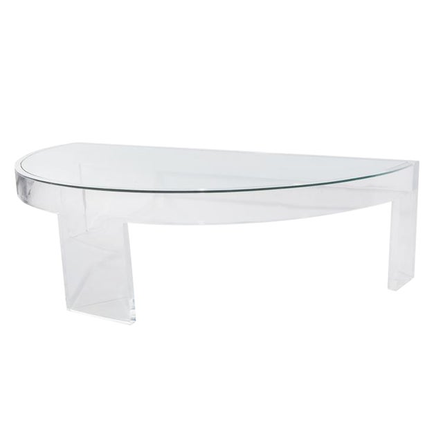 DEMILUNE LUCITE COCKTAIL TABLE For Sale