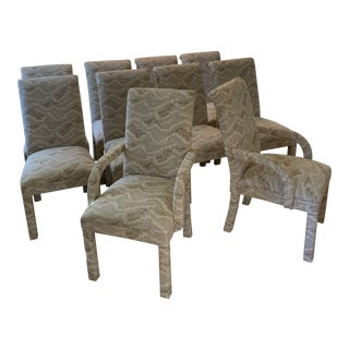 Set of 10 Fully Upholstered Dining Chairs For Sale