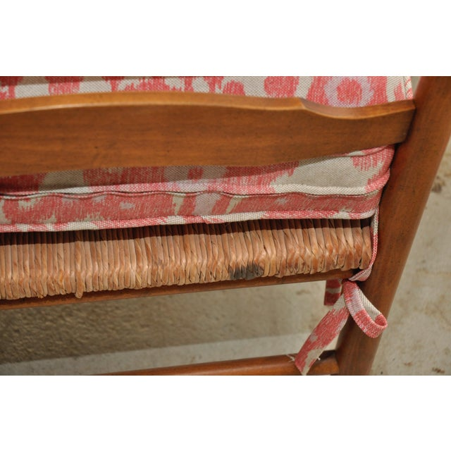 Ikat French Ladderback Cushioned Rush Seat Chairs - A Pair - Image 6 of 8