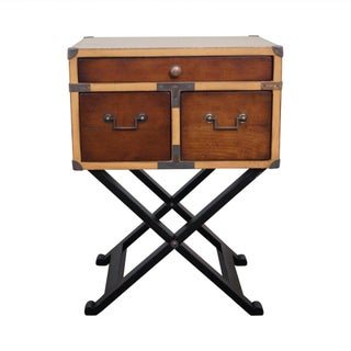 Authentic Models Campaign Style Chest on Frame Sided Table For Sale