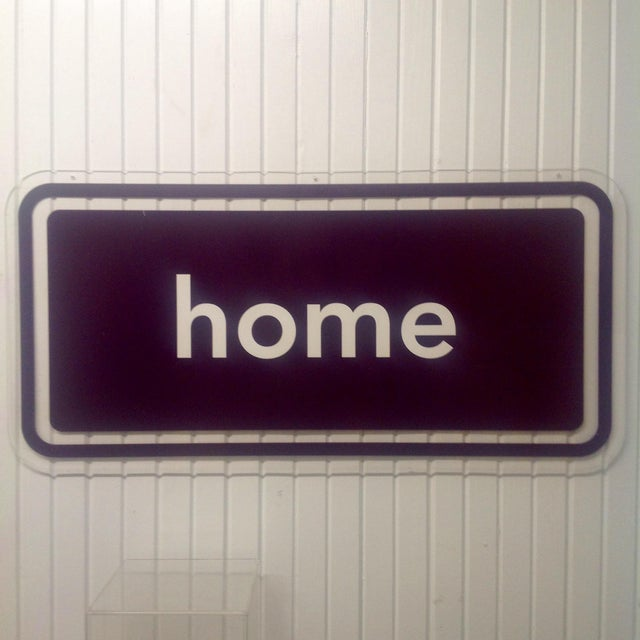 80s Acrylic Double Sided Sign HOME. NOTE: This piece was photographed on a white slatted wall, areas that appear white...