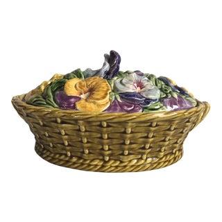 Majolica Pansies Basket Sarreguemines, circa 1920 For Sale