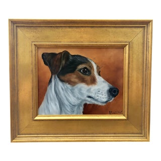 Vintage Mid-Century Gilt Framed Terrier Dog Oil Painting For Sale
