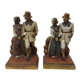 1925 Clad Byron Bristol Pilgrim Bookends - Pair For Sale