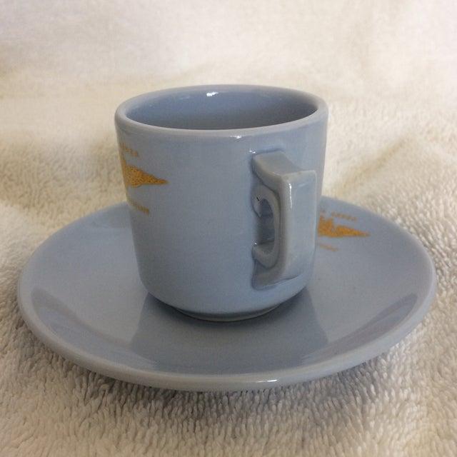"1970s Very Rare Vintage Set of Vista Alegre Impact Baby Blue Portuguese ""Forca Aerea Messe De Oficiais"" Demitasse Cups & Saucers -Set of 10 For Sale - Image 5 of 13"
