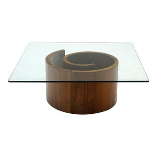 1960s Vladimir Kagan Square Snail Coffee Table For Sale