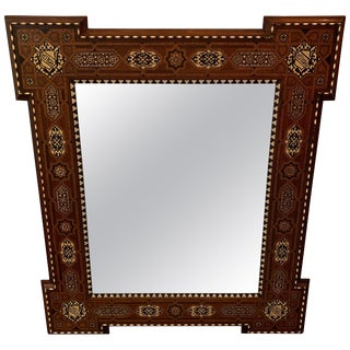 Intricately Inlaid Large Antique Moorish Style Mirror For Sale