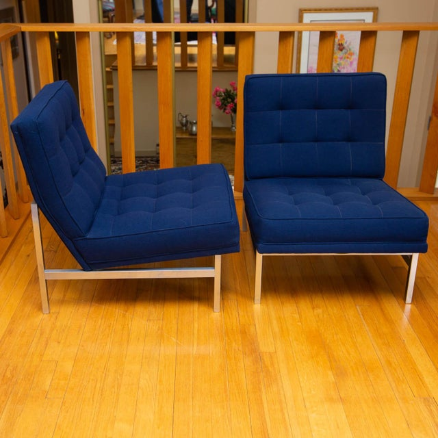 Silver Pair of Florence Knoll Parallel Bar Slipper Chairs For Sale - Image 8 of 8