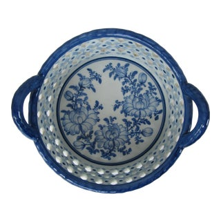 Blue & White Chinoiserie Bowl With Handles For Sale