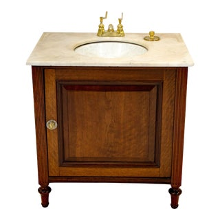 Victorian Marble-Top Cabinet With Sink For Sale
