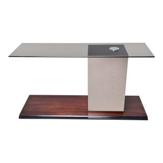 Italian Modernist Glass Top Console With Mirrored Support and Walnut Base For Sale