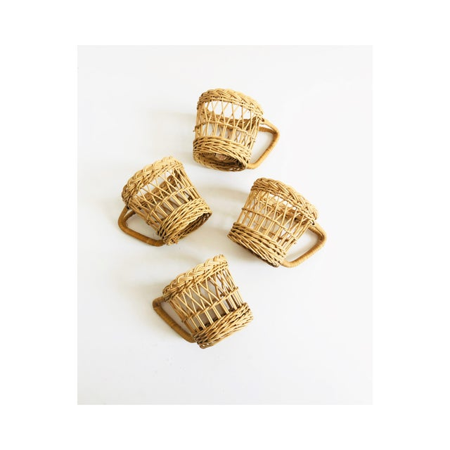Vintage Wicker Drink Cozies - Set of 4 For Sale In San Francisco - Image 6 of 6