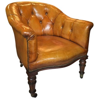English Rosewood and Leather Armchair, 19th Century For Sale