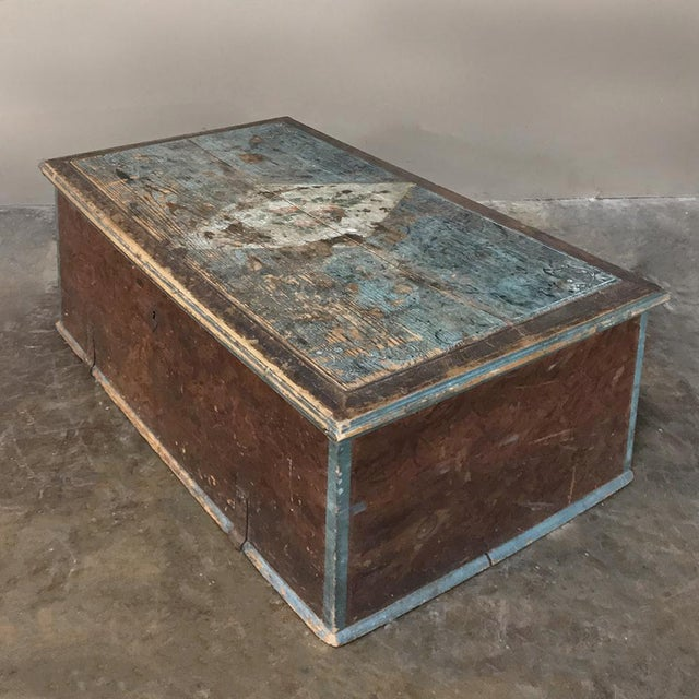 Mid-Century Modern 19th Century Rustic Swedish Painted Trunk For Sale - Image 3 of 13